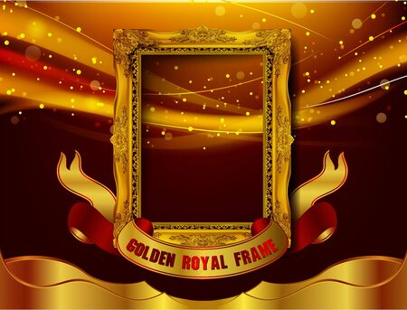 Gold border frame with line floral for picture, Vector design decoration pattern style. frame corner design is pattern