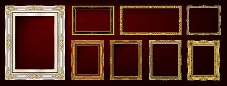 Decorative vintage frames and borders set Ilustracja