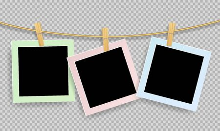 Retro realistic photo frame with paper clip of wood isolated on transparent background