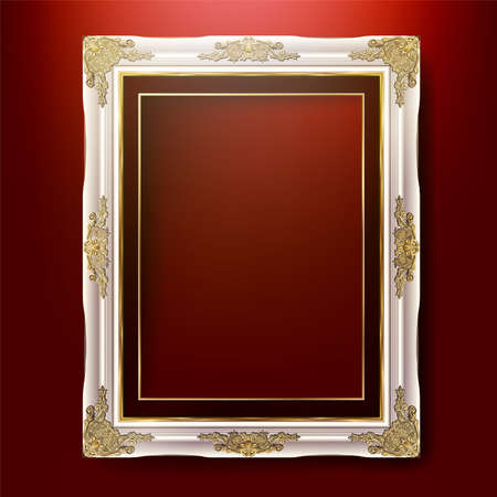 Decorative vintage frame and border, Gold photo frame with corner Thailand line floral for picture