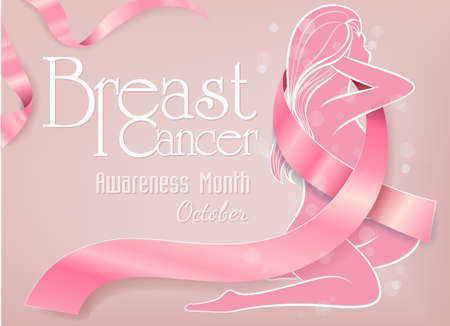Breast Cancer October Awareness Month background with pink ribbon symbol Zdjęcie Seryjne - 151017422