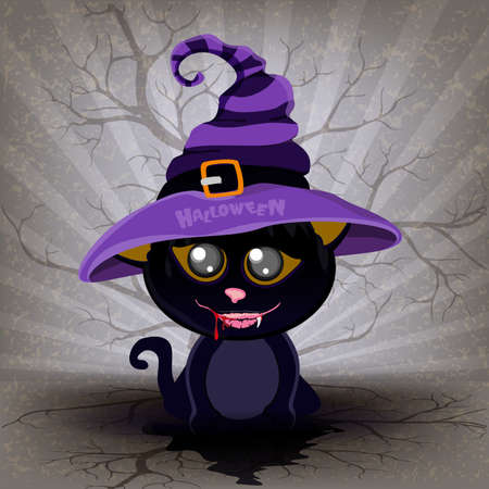Cute Cartoon black kitten in a halloween Drak Cat Stock Vector - 151467319