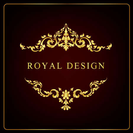 Classical decorative elements in baroque style. Holiday decor frame gold elements isolated Stock Vector - 151466048