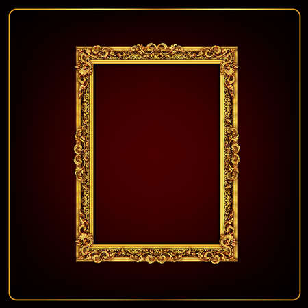 Classical decorative elements in baroque style. Holiday decor frame gold elements isolated