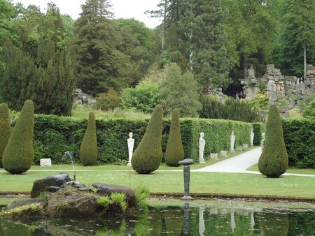 luscious: Splendid rock garden with a small lake in spring