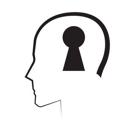 Mental Concept Design Met Key. AI 10 ondersteund. Vector Illustratie
