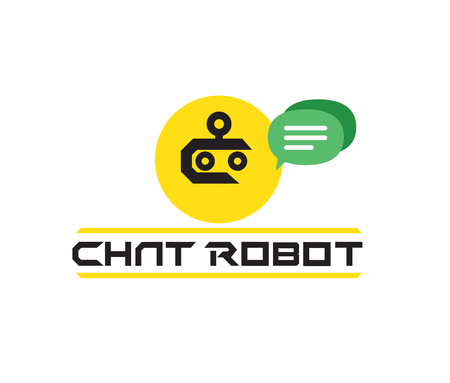 virtual assistant: Chat Robot Logo Design Concept. AI 10 Supported. Illustration