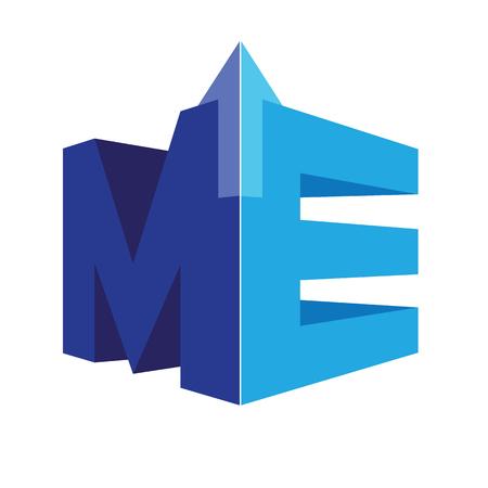 기하학적 ME 로고 개념입니다. AI 10 지원.