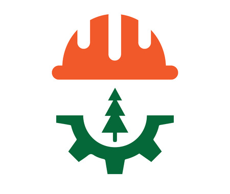 Forest industry related design concept. Helmet, Gear and tree icons. AI 10 Supported.