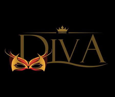 sociedade: Diva com Masquerade Óculos. Ilustração
