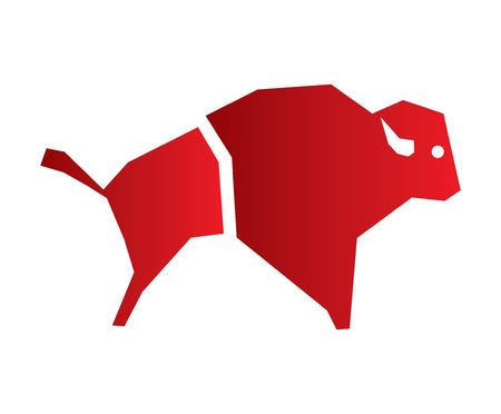 raging bull: Buffalo Icon Design Concept. Illustration