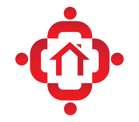 social apartment: Family Icon Design With Home, AI 8 supported. Illustration