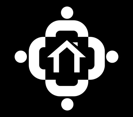 Family Icon Design With Home, AI 8 supported. Illustration