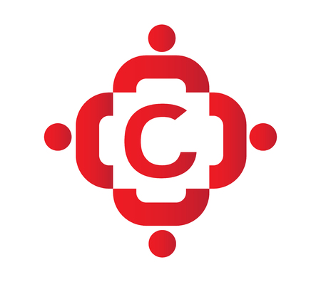 partnership security: Teamwork Icon With C Letter. AI 8 Supported.