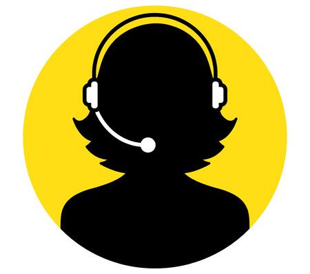 Call Center Woman Icon Design
