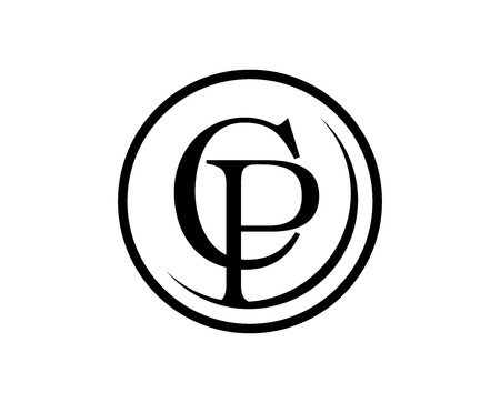 Logo Carta abstracto con CP. AI 8 compatible. Logos