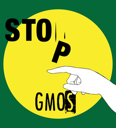 Stop GMOs Concept Design, AI 10 supported. Illustration