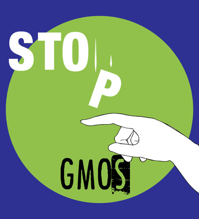 genetic modification: Stop GMOs Concept Design, AI 10 supported. Illustration