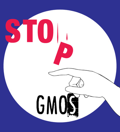 genetically modified crops: Stop GMOs Concept Design, AI 10 supported. Illustration