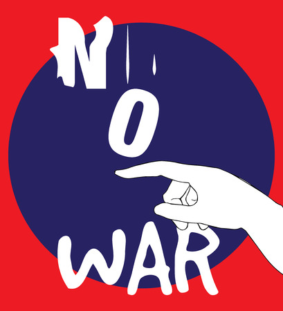warning against a white background: No War Poster Design, AI 10 supported.