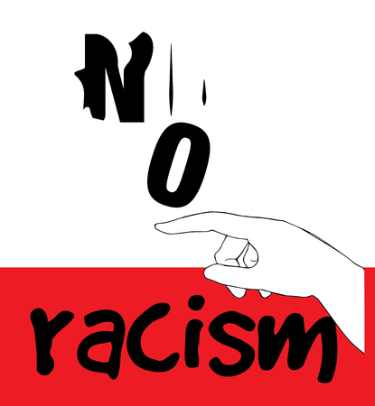 racismo: Sin Racismo concepto de diseño. AI 10 compatible. Vectores