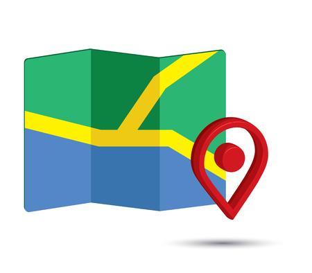 Map-Symbol ein 3D-Pin-Design Vektorgrafik