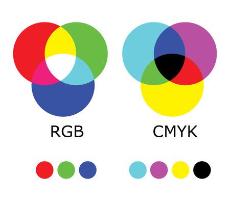 RGB 및 CMYK 색상 다이어그램 일러스트