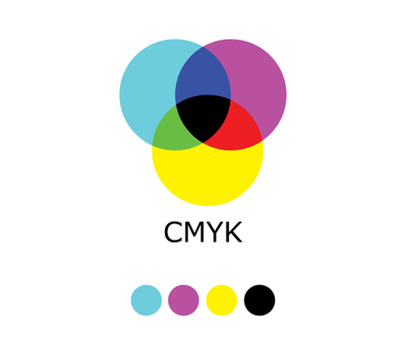 blue circle: CMYK and RGB Color Diagram