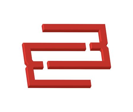3D E Concept. Illustration