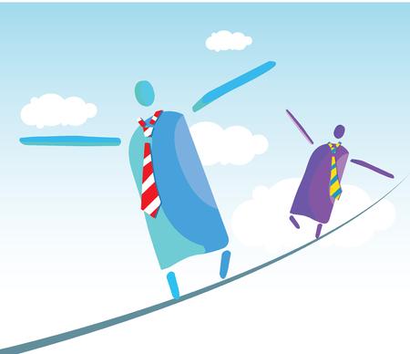 tightrope walker: Tightrope walker working men concept design.