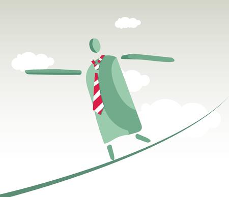 tightrope walker: Tightrope walker working man concept design.