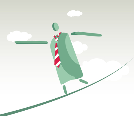 dangerous ideas: Tightrope walker working man concept design.