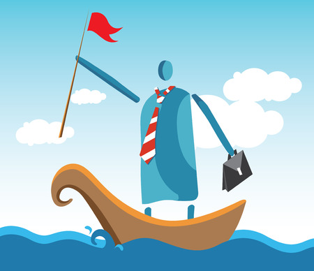Leaders In The Boat At Ocean. Illustration