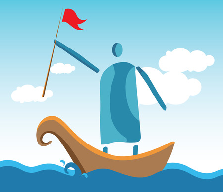 manifest: Leaders In The Boat At Ocean. Illustration
