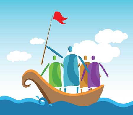 manifest: Leaders and people crowd the ocean.