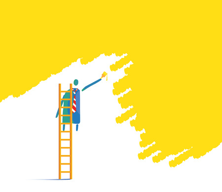 roller brush: Wall paint man concept design.