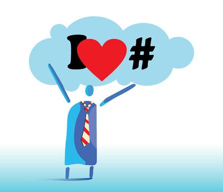 I Love Hashtags Concept Design. Man hold cloud and I love Hashtags sign on the Cloud. Illustration