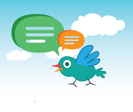 Cute Cartoon Bird and Speech Bubbles Design