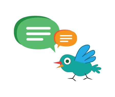 Cute Cartoon Bird with Speech Bubbles. Illustration