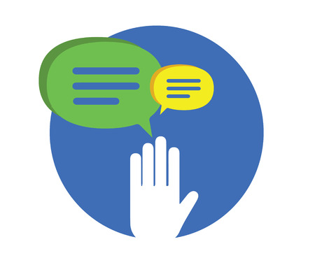 Sprechen und Chat-Ban Konzept Design