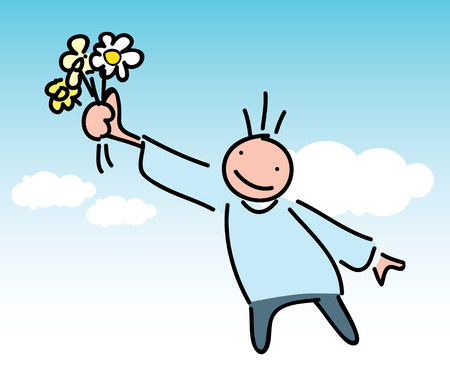 Gentleman Character with Giving Flowers Concept Design. Illustration