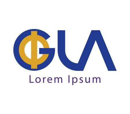 golden ratio: Phi and GLA Logo Concept Design Illustration