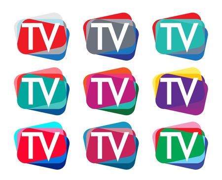 TV 로고 디자인 세트. EPS 8 지원.