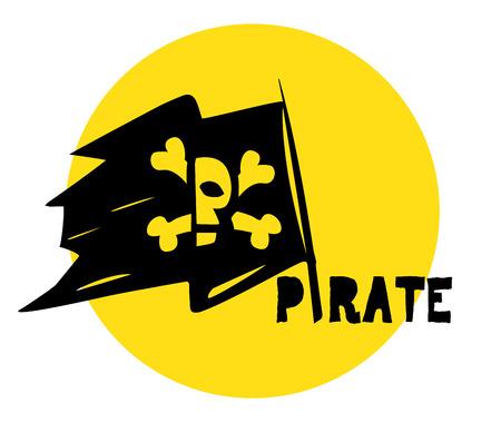 piracy: Pirate Flag and Logo Design Concept.