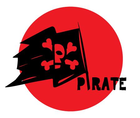 Pirate Flag and Logo Design Concept.