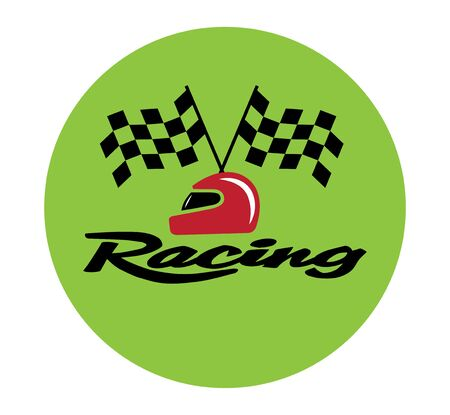 racing checkered flag crossed: Racing With Checkered Flag and Helmet. EPS 8 supported.