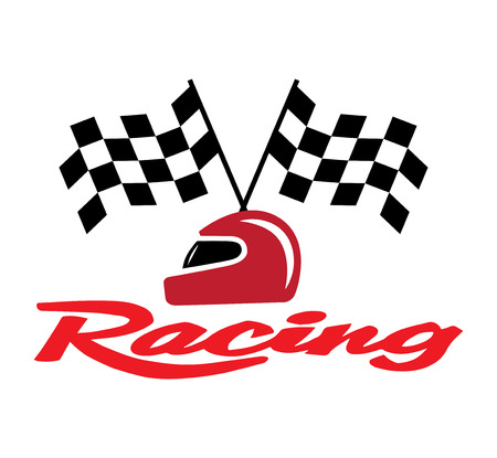 Racing With Checkered Flag and Helmet. EPS 8 supported.