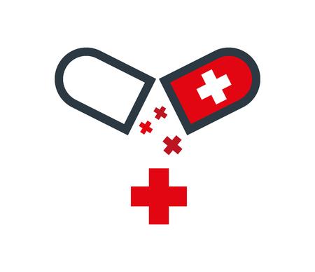 Drug Capsule Logo Design. Eps 8 supported. Illustration