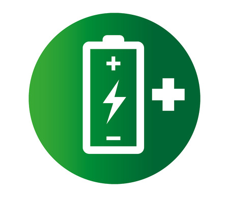 Battery with Flash and Plus Icon Design