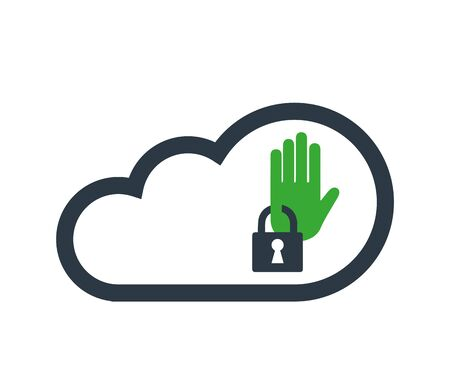 Cloud Computing with Security Concept Icon Design